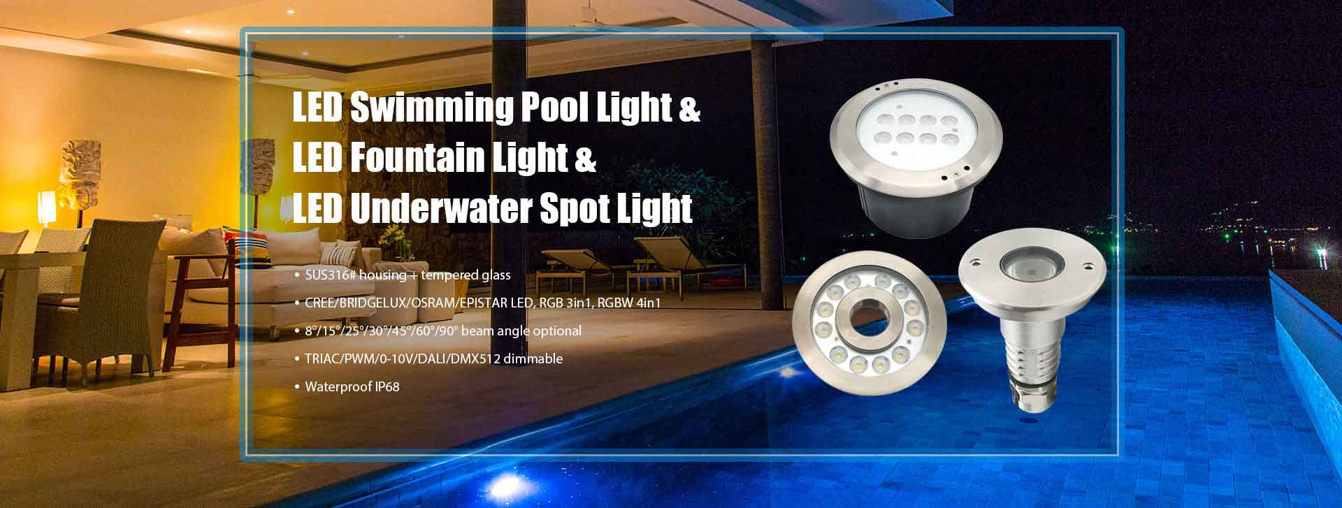 LED Swimming Pool Light LED Fountain Light LED Underwater Spot Light