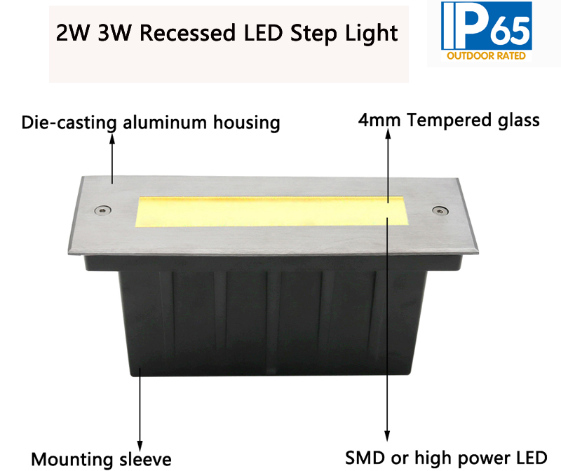 2W 3W Recessed LED Step Light,Stairway decorative LED Lighting