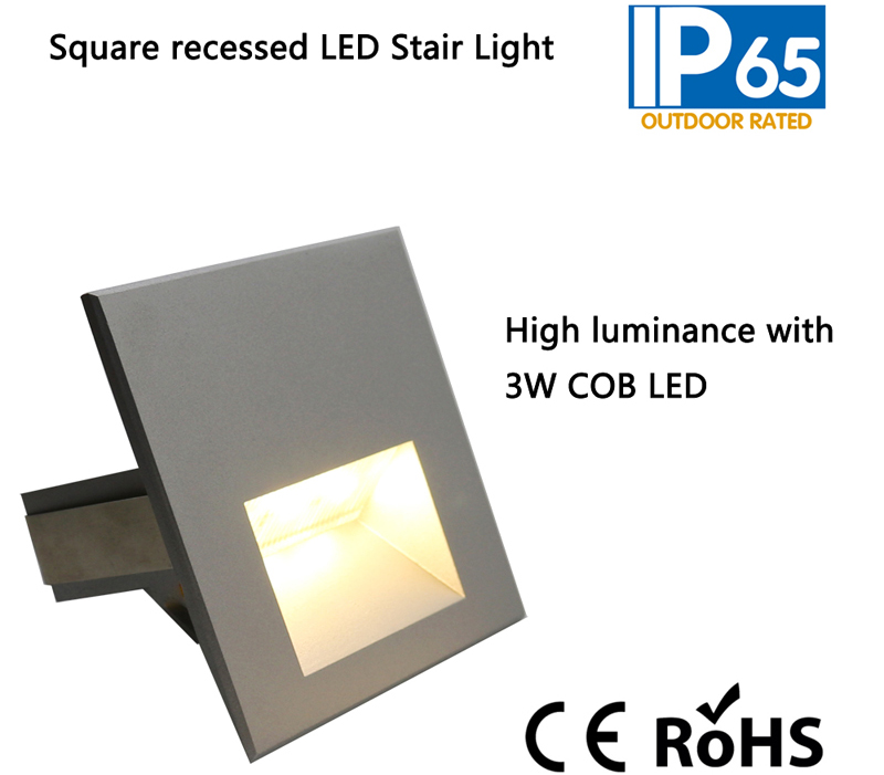 3W Square Recessed LED Stair Light,LED Step Lighting