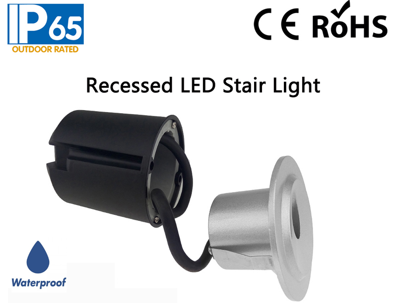 IP65 Waterproof Recessed LED Stair Light,Round LED Stair Light