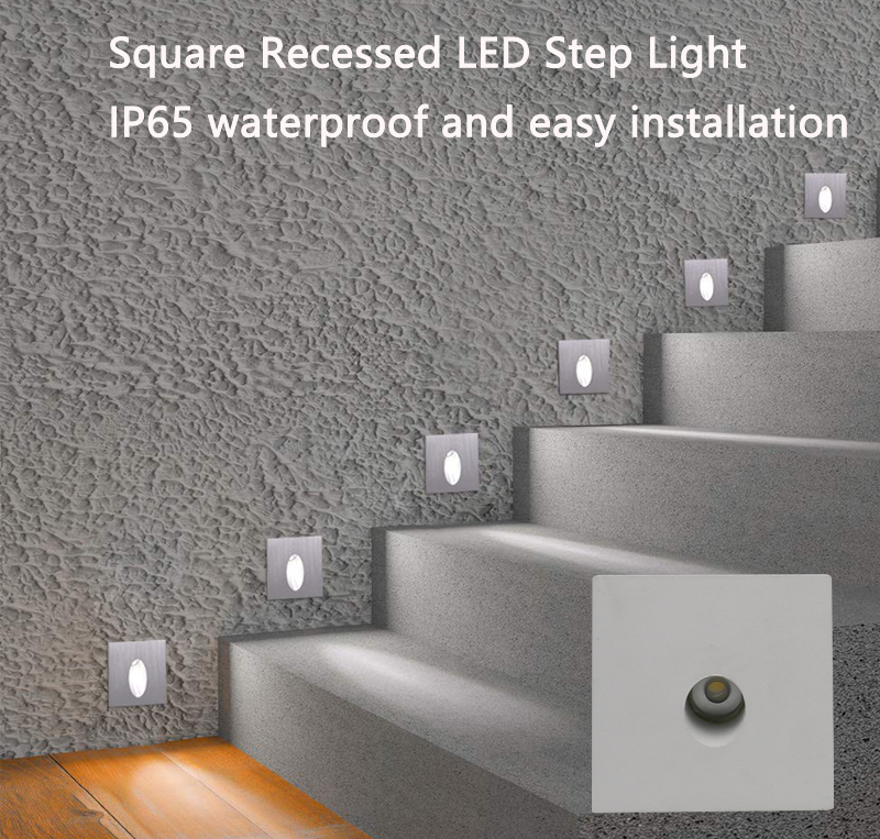Recessed LED Step Light with Flat Cover Face Mounted
