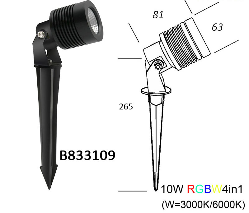 RGBW 4in1 LED Garden Spot Light with spike