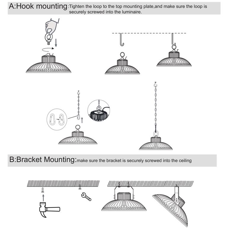 250W Warehouse UFO LED High Bay Light Fixture