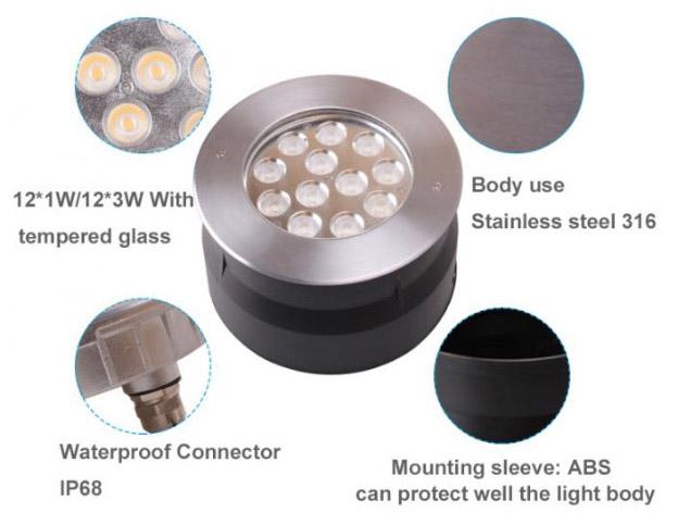 IP67 12W 24W 36W LED Inground Light Garden Up Light